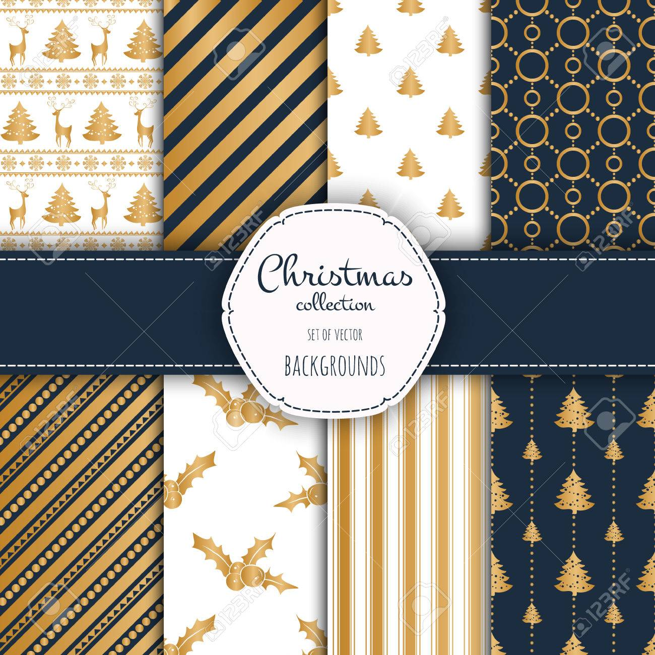 Gold collection of seamless patterns with blue and white colors. - 49417160
