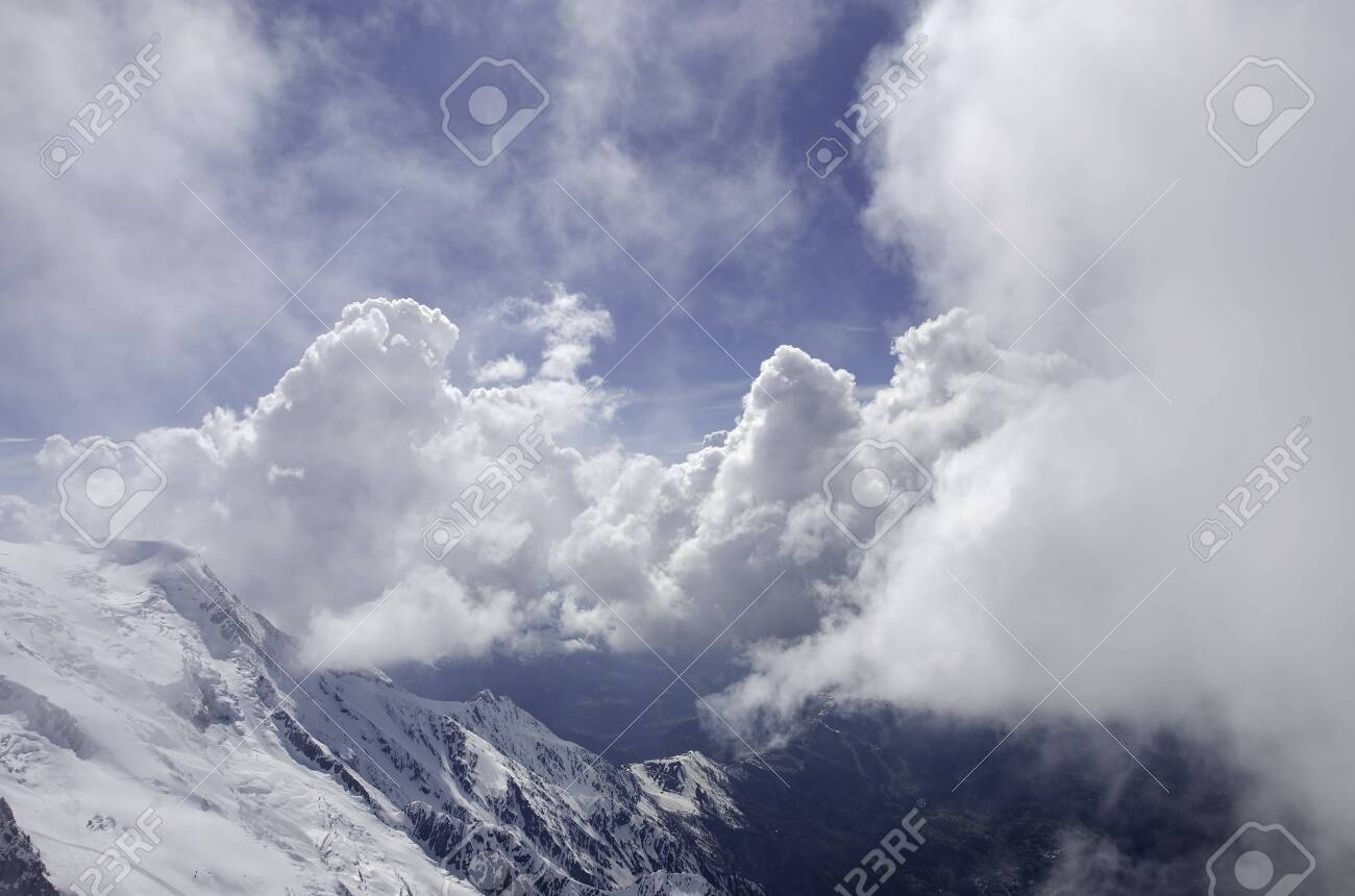 Air view. Chamonix with beatifull dramatic clody sky. Mont Blanc. - 128254303