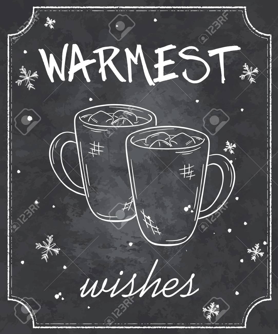 Illustration Vectorielle Du Style Tableau Citation De Noël Avec Des Contours De Deux Tasses De Chocolat Chaud Avec La Guimauve Et Des Flocons De