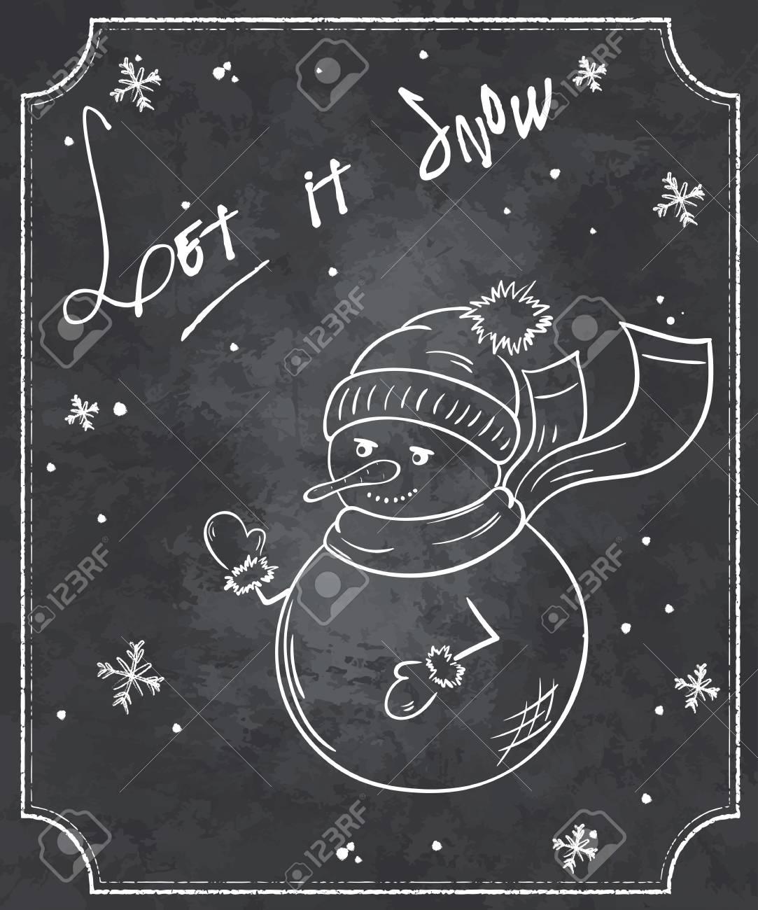 Illustration Vectorielle Style Tableau Citation De Noël Avec Bonhomme De Neige Et Les Flocons De Neige Drôle