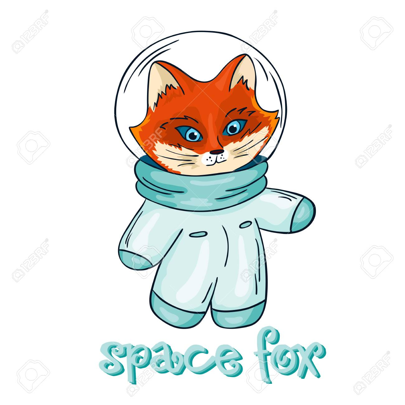 image regarding Astronaut Printable identify vector hand drawn isolated printable case in point of fox astronaut..