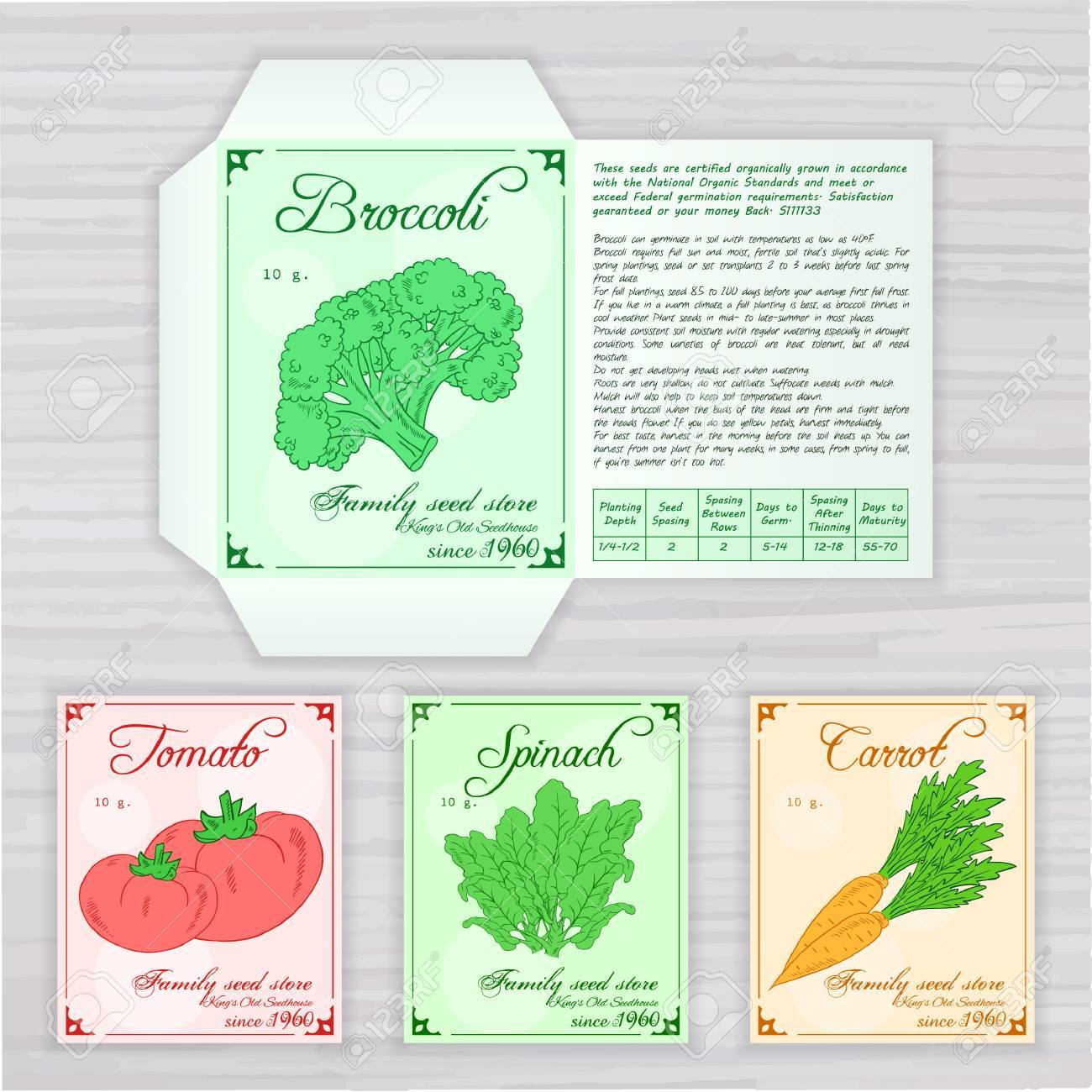 picture about Printable Vegetables identified as vector printable template of seed packet with impression, standing and..