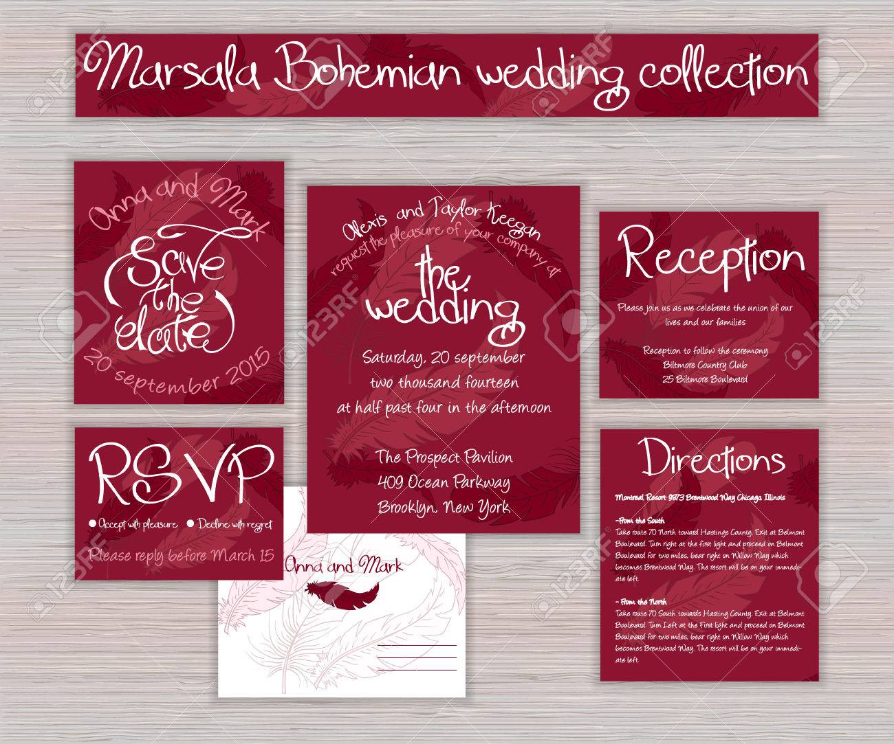 Vector Marsala Printable Wedding Typography Set Of Cards With ...