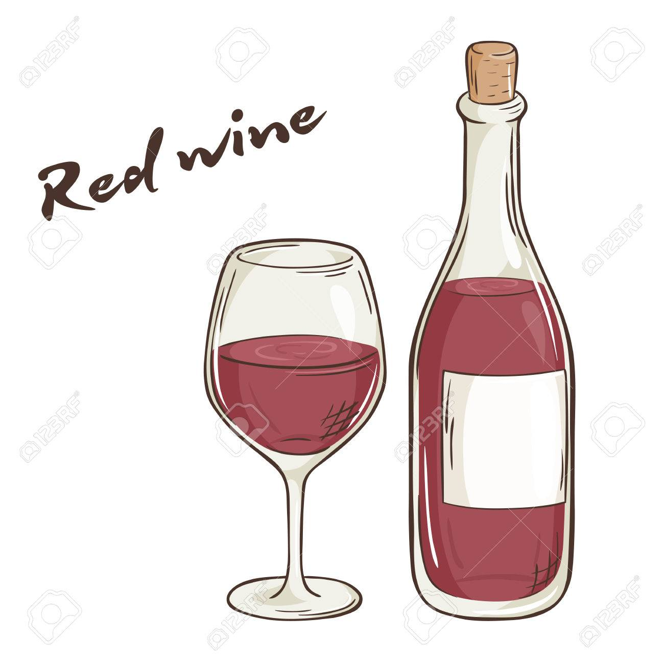 vector hand drawn illustration of bottle and glass of red wine. - 51269936