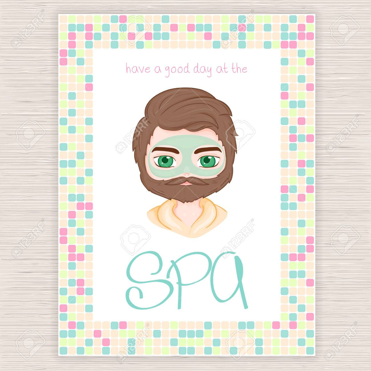 Ilustración Vectorial De La Invitación De La Fiesta De Spa Con El Marco Del Mosaico De Colores Con Los Hombres Máscara Cosmética Facial