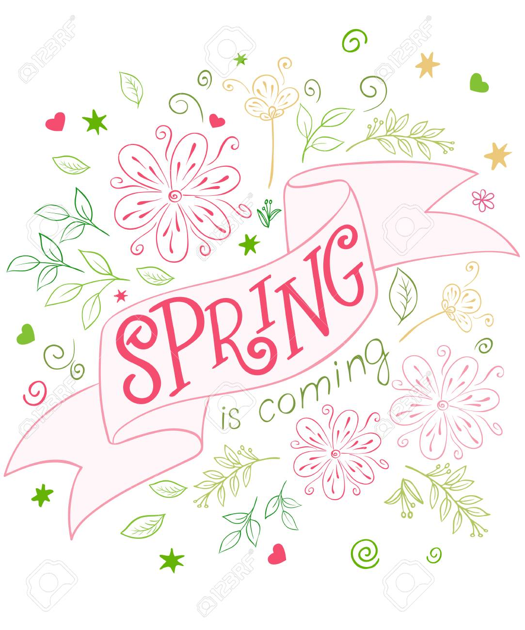Vector Hand Drawing Lettering Quote Spring Is Coming On Ribbon