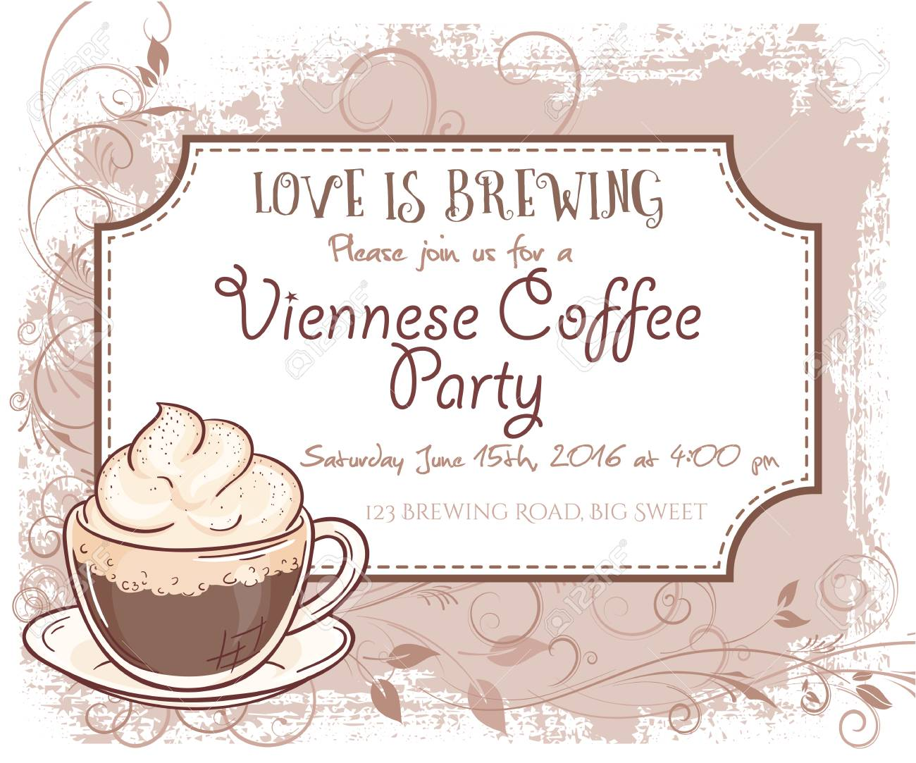 Vektor Hand Wiener Kaffee-Party Einladungskarte, Vintage-Rahmen ...