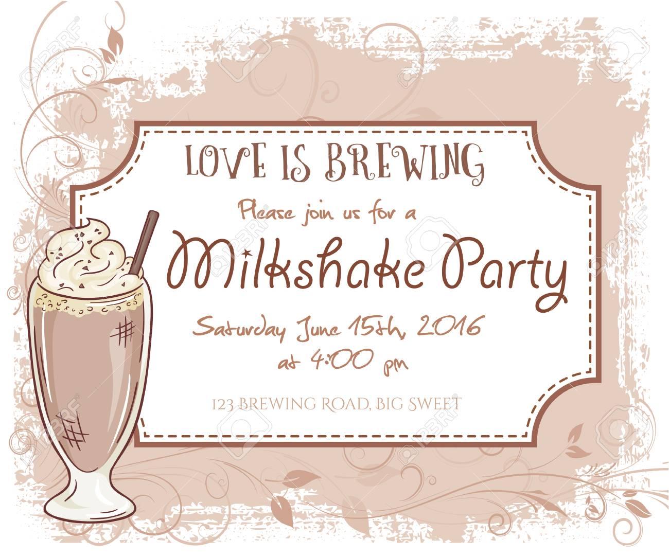 Vektor Hand Gezeichnet Milchshake-Party Einladungskarte, Vintage ...