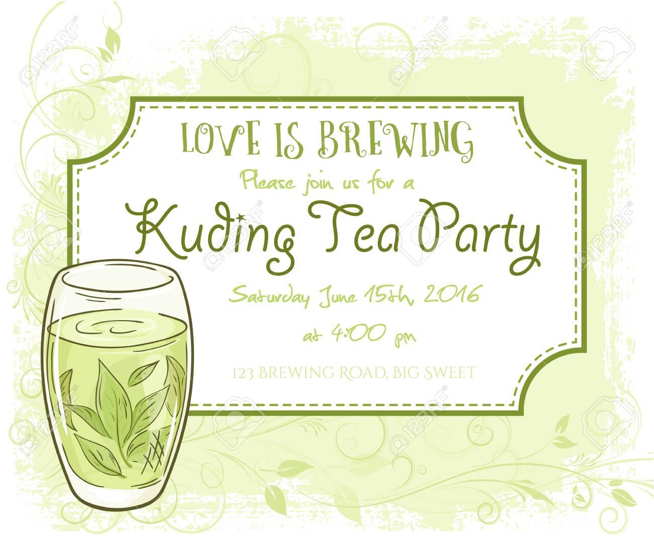 Vektor Hand Gezeichnet Kuding Tee-Party Einladungskarte, Vintage ...