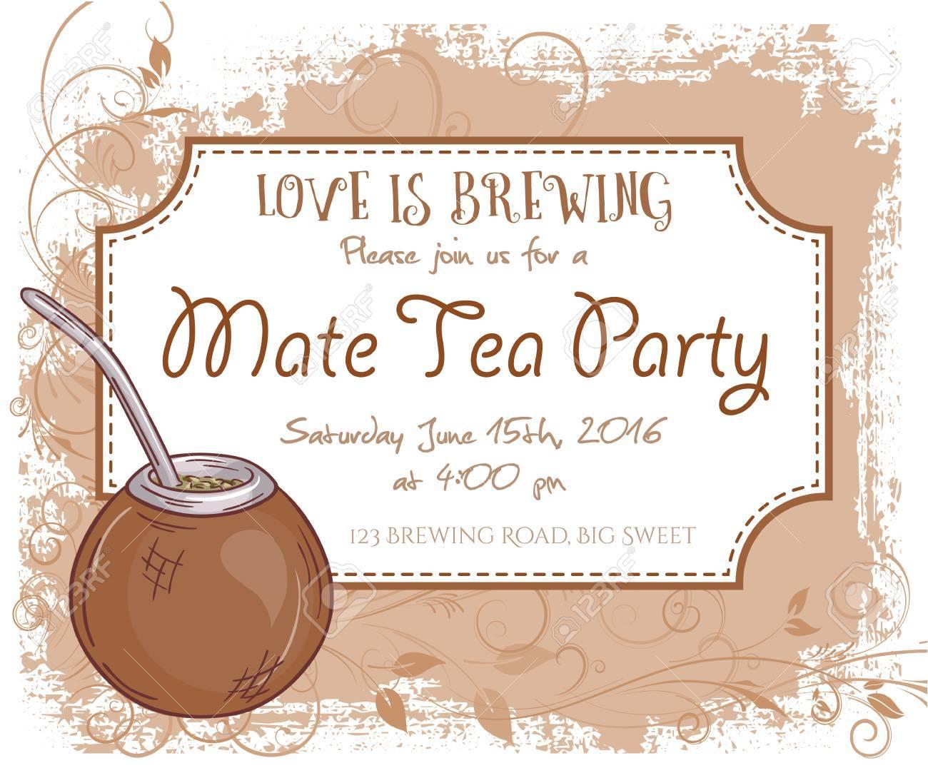 Vektor Hand Gezeichnet Mate-Tee-Party Einladungskarte, Vintage ...