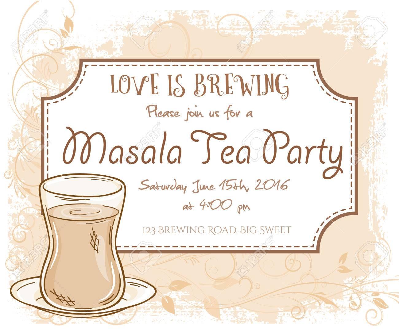 Vektor Hand Gezeichnet Masala-Tee-Party Einladungskarte, Vintage ...