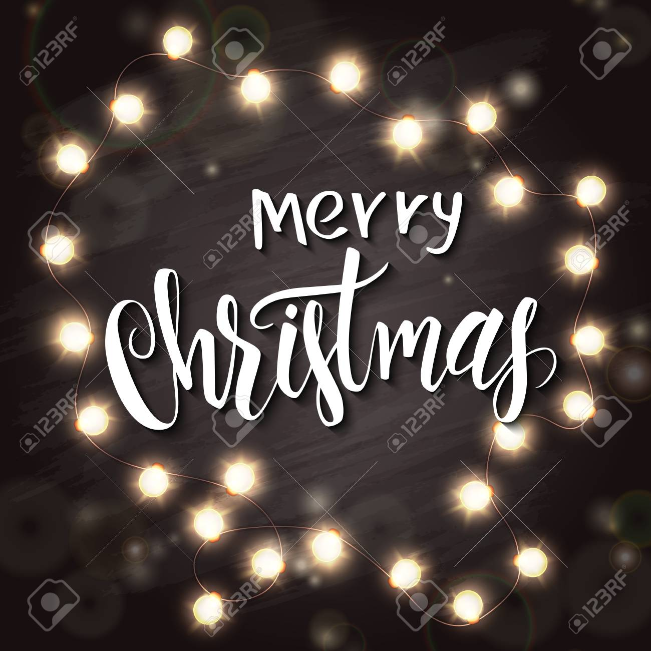 Schriftzug Frohe Weihnachten Beleuchtet.Vector Hand Gezeichnet Schriftzug Frohe Weihnachten Mit