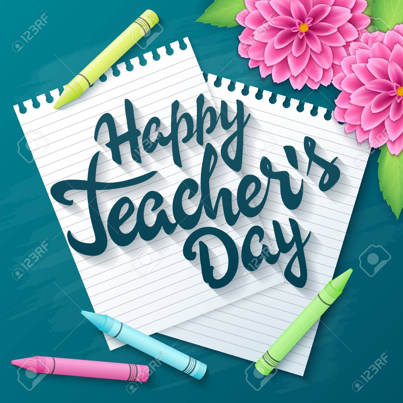 Vector hand drawn teachers day lettering greetings label happy vector vector hand drawn teachers day lettering greetings label happy teachers day with realistic paper pages pencils and dahlia flowers on m4hsunfo