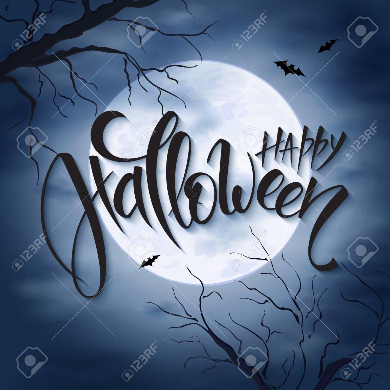 poster vecteur halloween avec les salutations de lettrage à la main