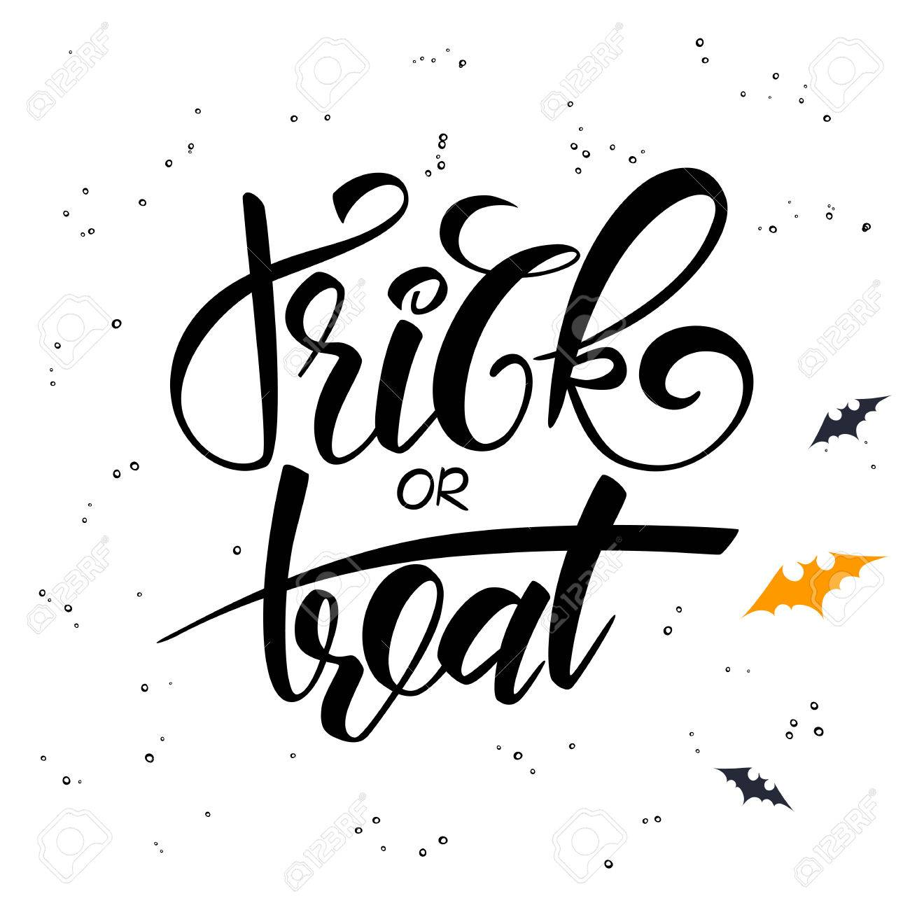 Vector hand lettering halloween greetings text trick or treat vector vector hand lettering halloween greetings text trick or treat with bat m4hsunfo