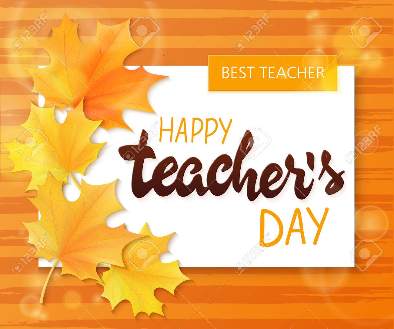 Vector Hand Drawn Teachers Day Lettering Greetings Label Happy