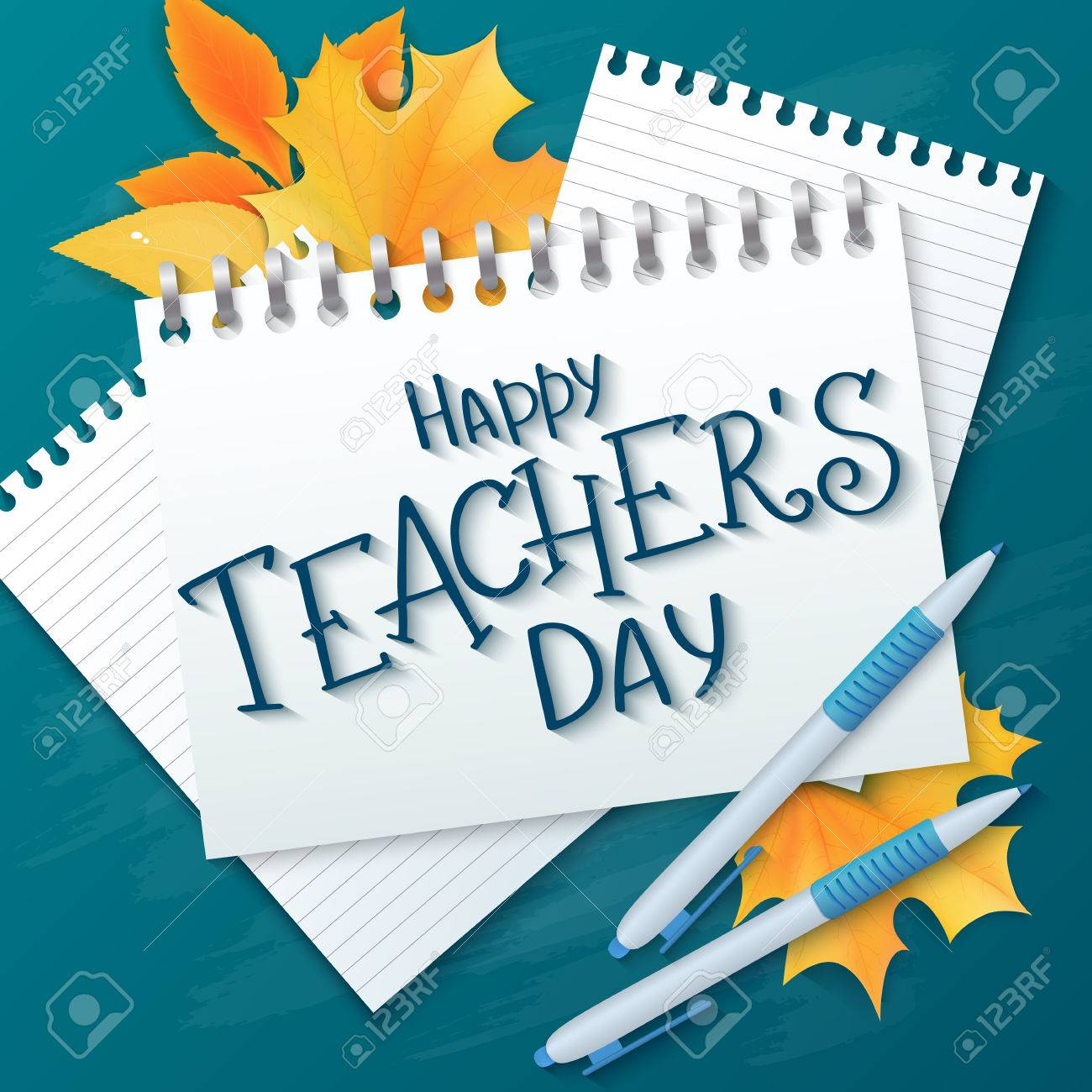 Vector hand drawn teachers day lettering greetings label happy vector vector hand drawn teachers day lettering greetings label happy teachers day with realistic paper pages pencils and maple leaves on chalkboard m4hsunfo