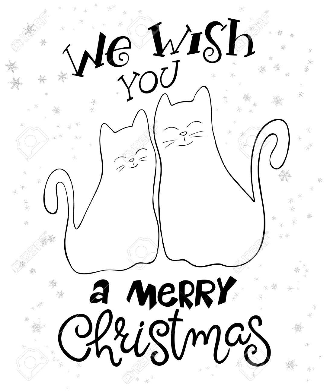 ベクトル イラストのカップルの手描き猫挨拶文字フレーズ - あなたと私