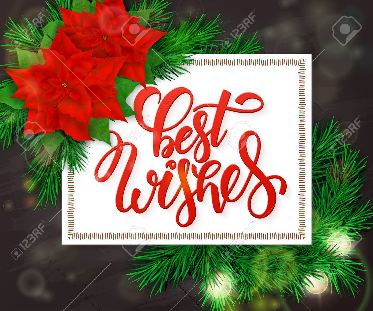 Hand Drawn Christmas Lettering Greetings Text Best Wishes