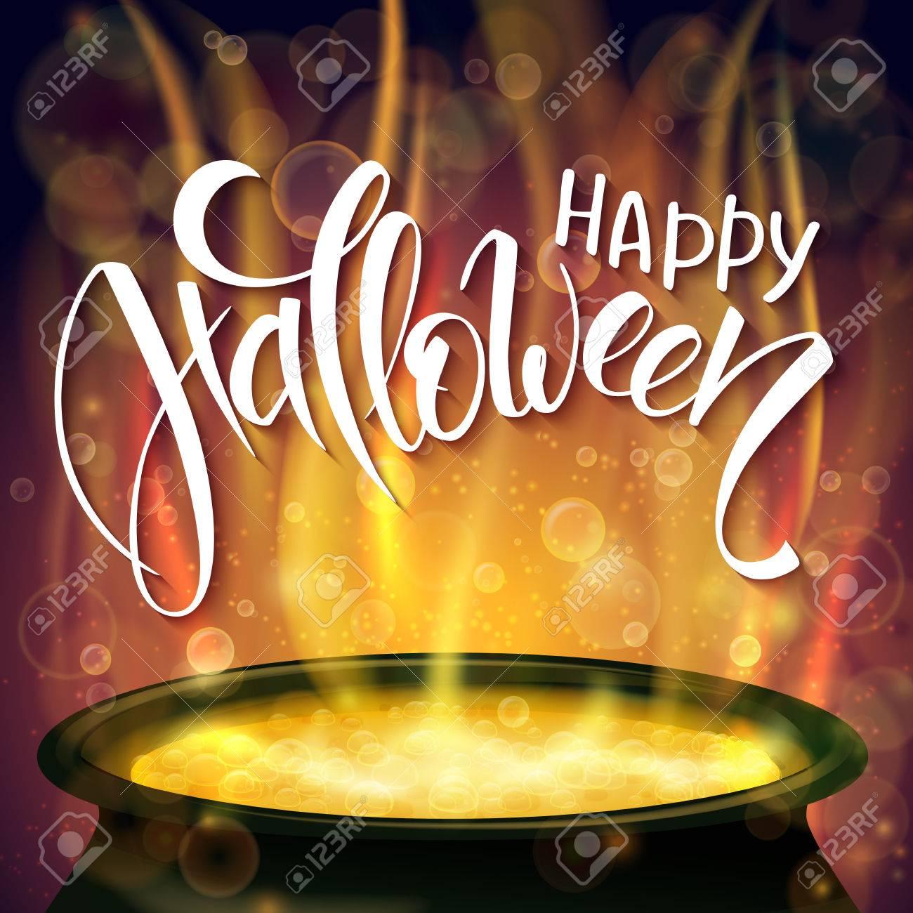 affiche halloween avec les salutations de lettrage à la main