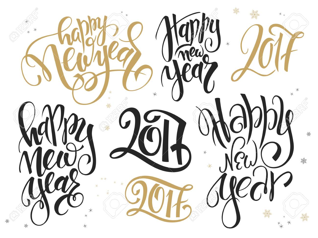 Vector Set Of Hand Lettering New Year Quotes - Happy New Year ...