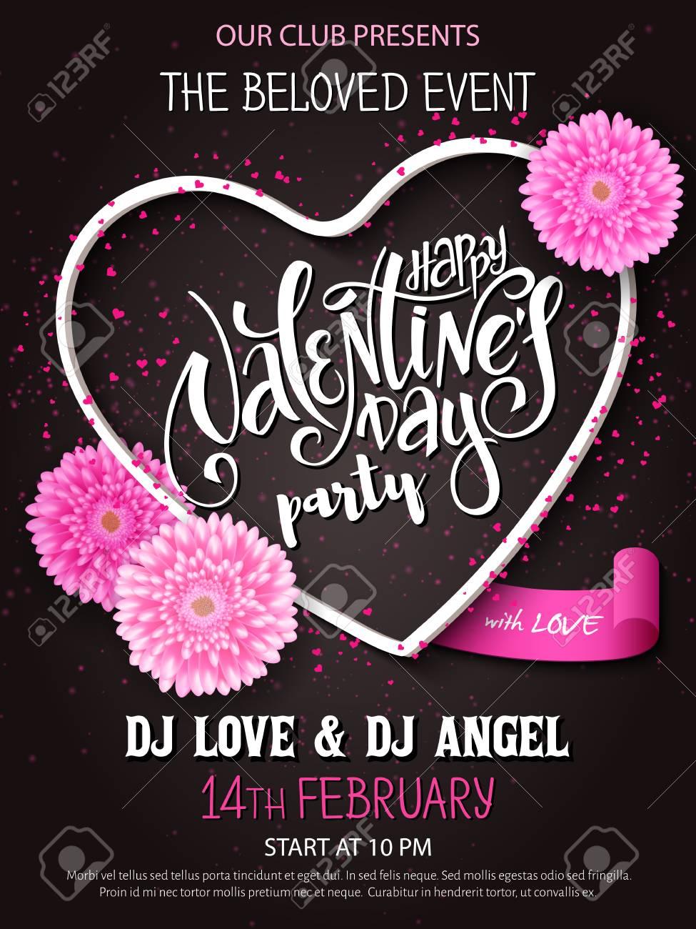 Vector Happy Valentines Parte De Carteles Con Letras En Día, Las ...