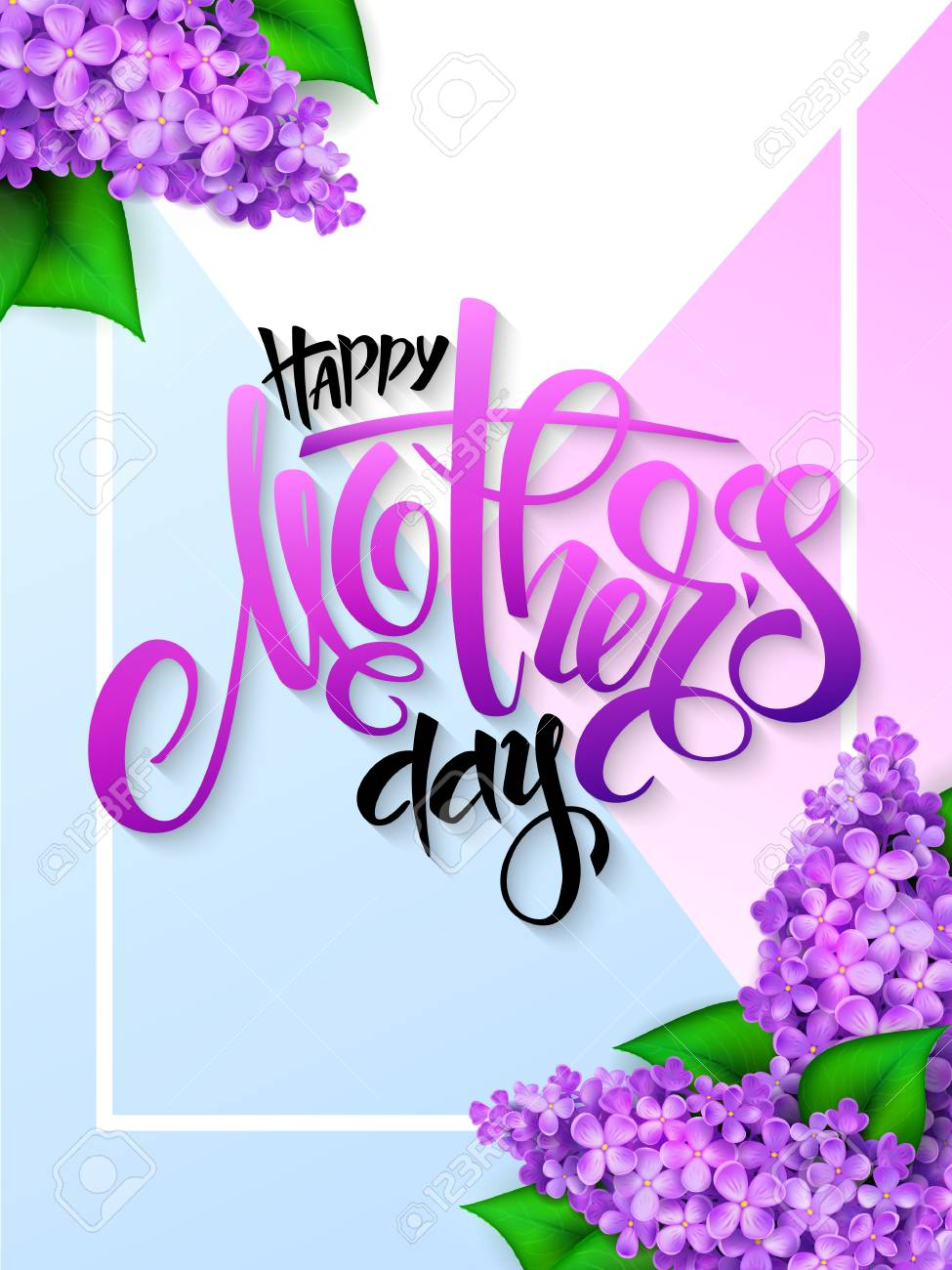 vector hand drawn mothers day greeting card with blooming lilac