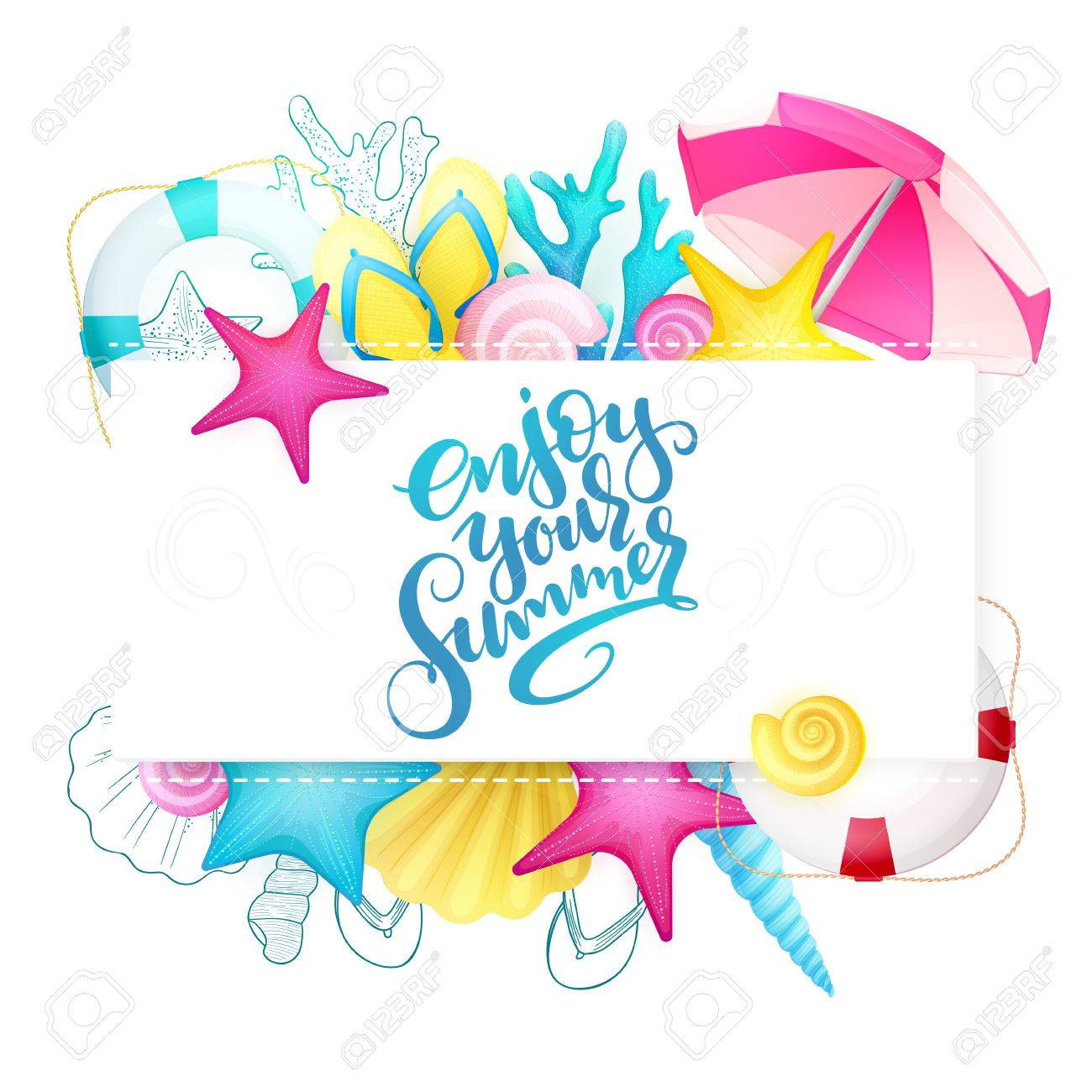 vector hand lettering summer phrase enjoy your summer surrounded