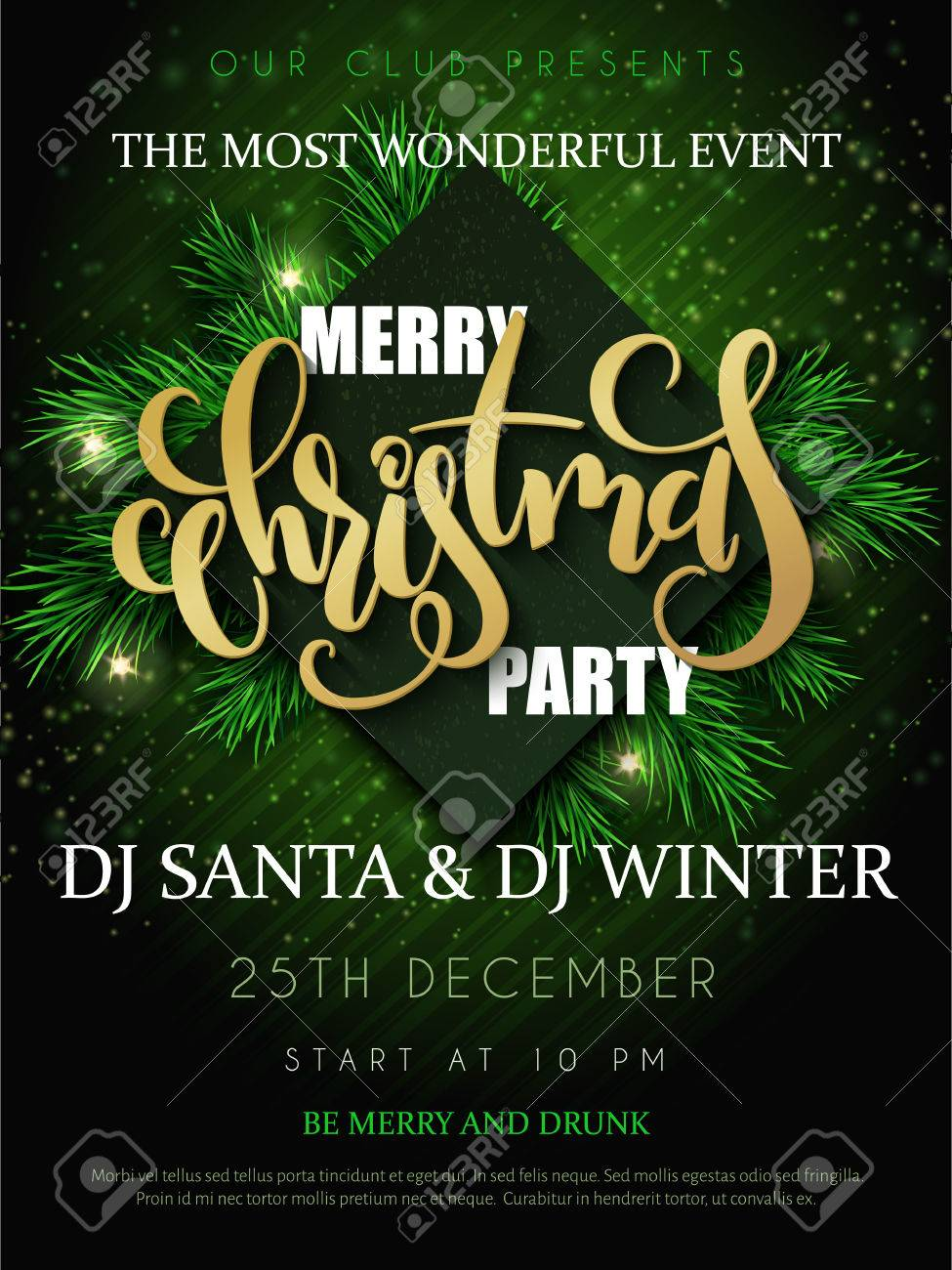 vector vector illustration of christmas party poster with hand lettering label christmas with fir tree branches