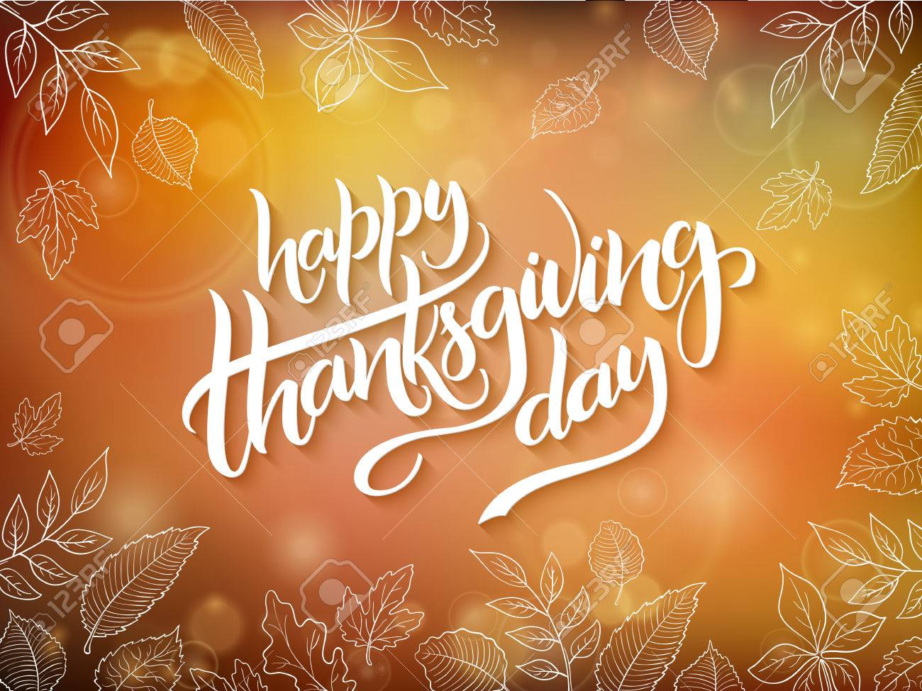 Vector Thanksgiving Greeting Card With Hand Lettering Label