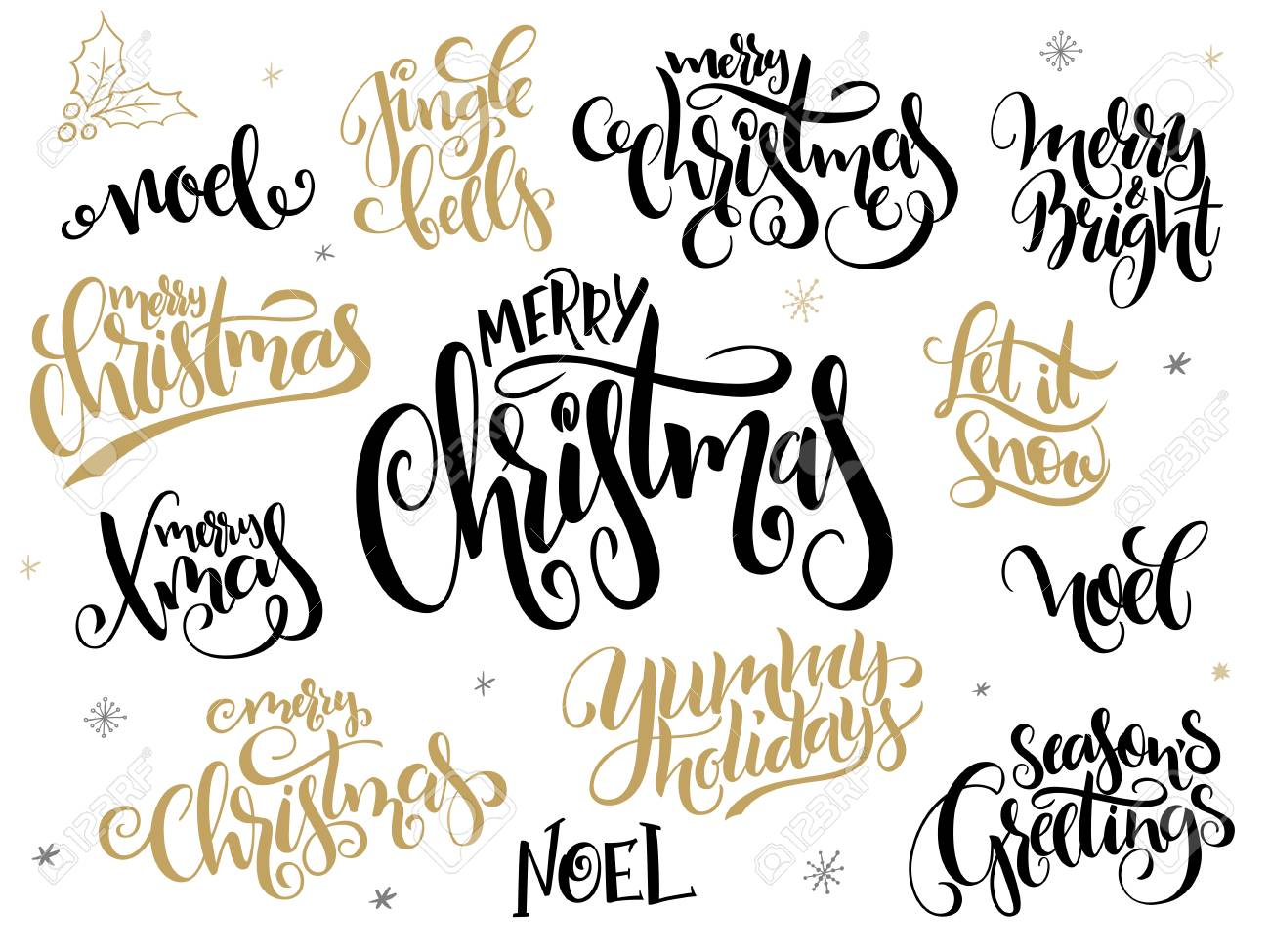 Vector Set Of Hand Lettering Christmas Greetings Phrases Merry