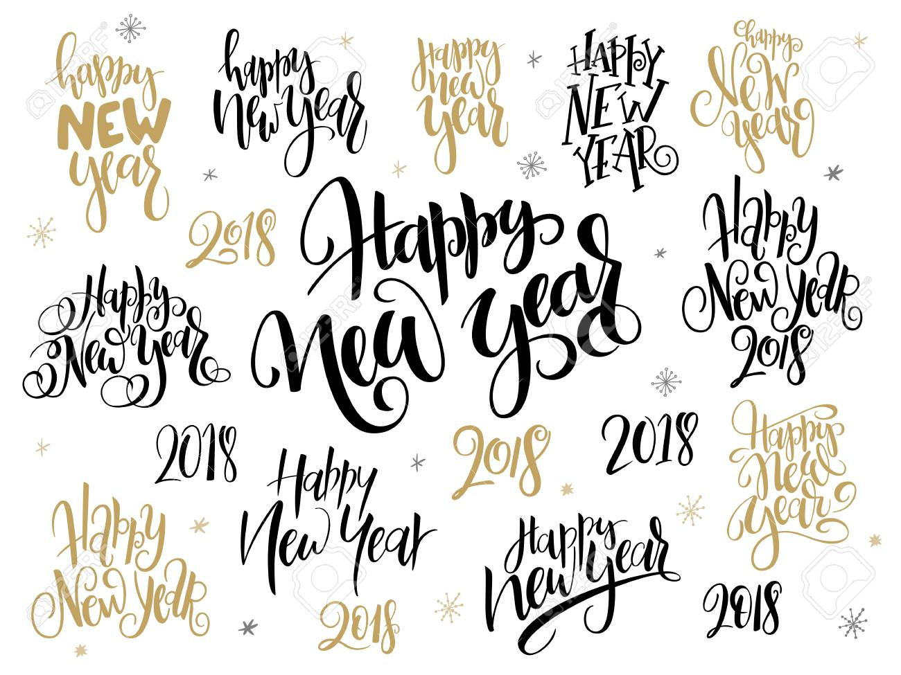 Vector Set Of 2018 New Year Greetings Phrases-happy New Year ...