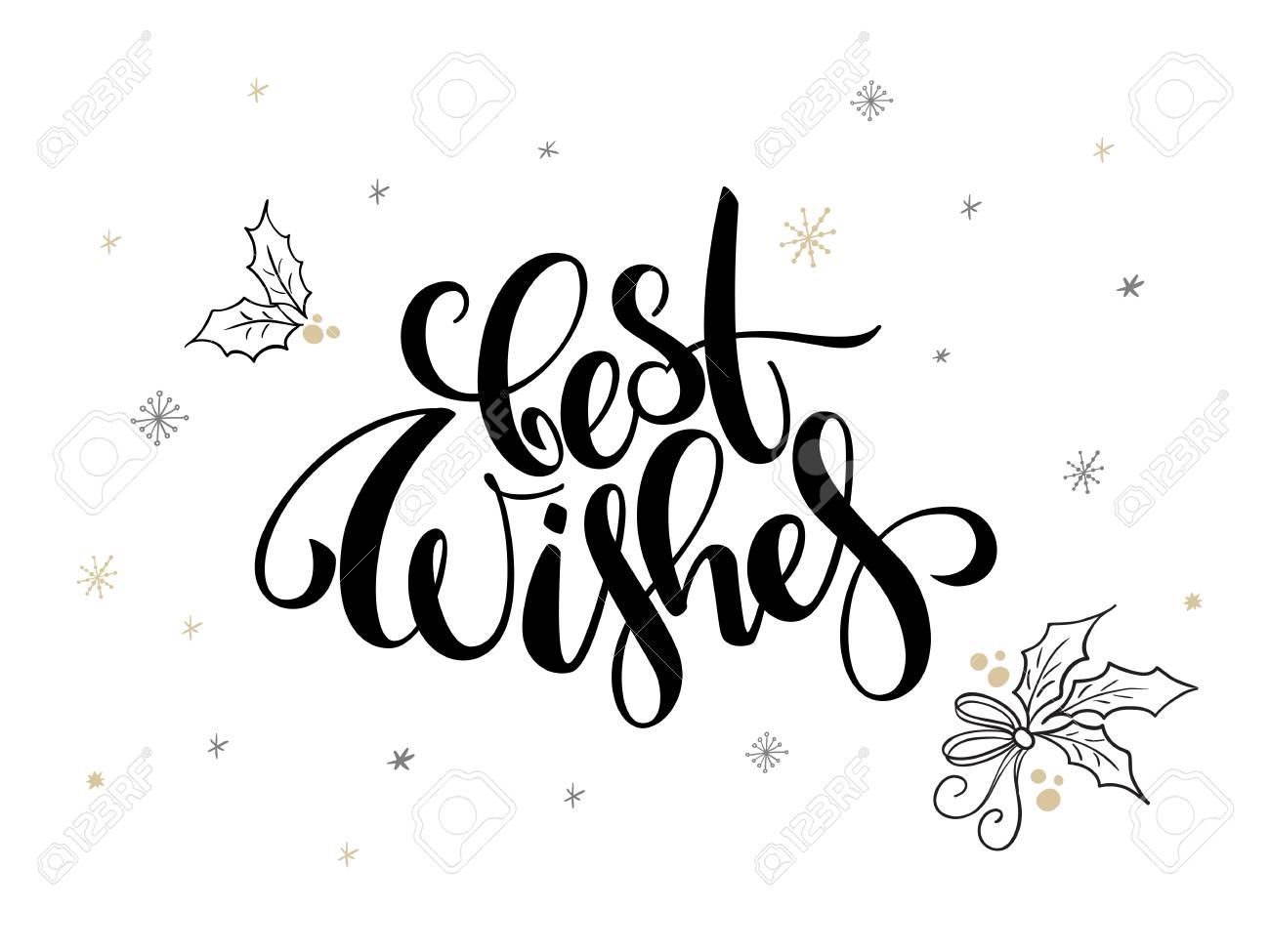 Vecteur Texte De Voeux De Noël Meilleurs Voeux Avec Des Feuilles De Houx Et Des Flocons De Neige
