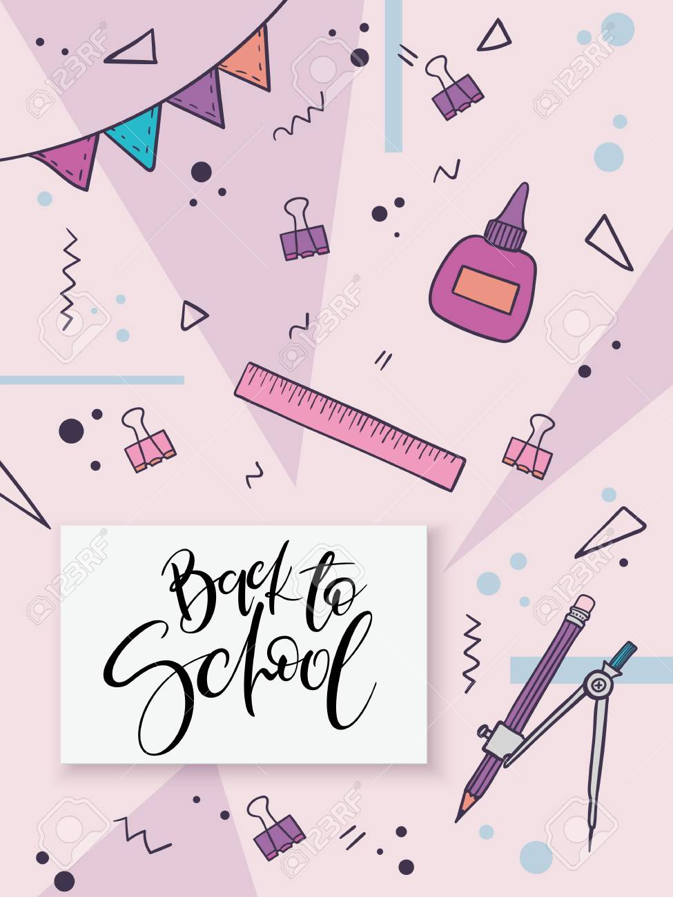 Vector Illustration With Design Template For Back To School Event