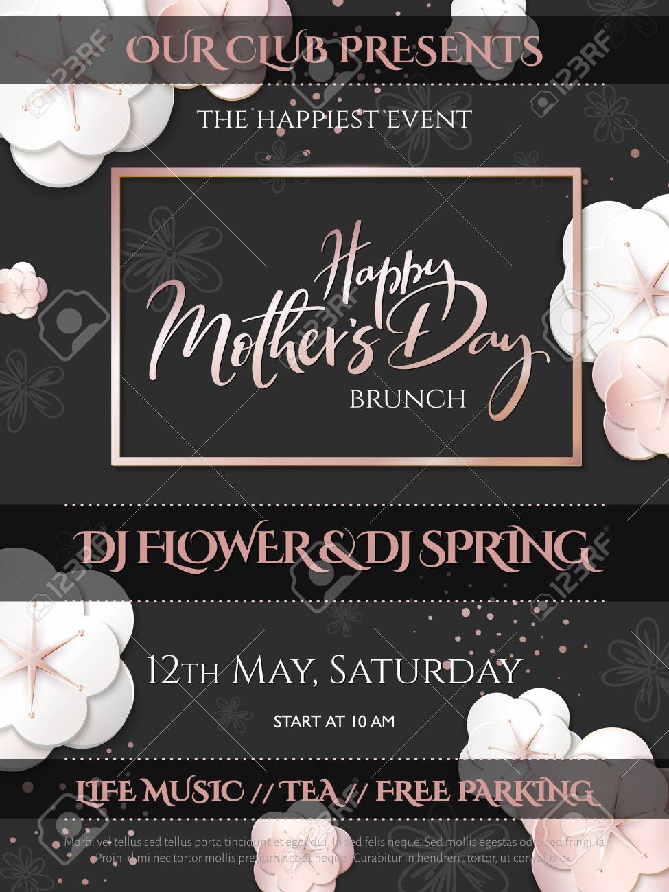 Vector illustration of mothers day invitation party poster template