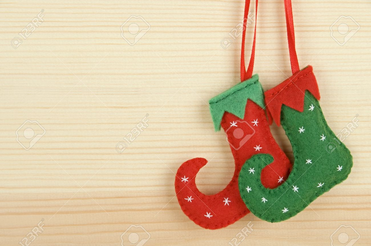Handmade Christmas Decorations - Felt Elf Shoes Over Wooden ...