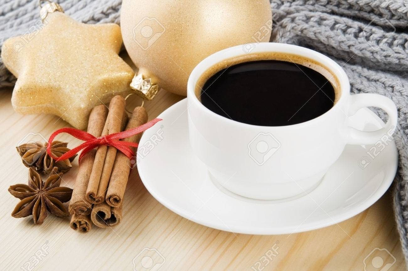 Cosy Winter Cup Of Coffee With Scarf Spices And Christmas Decorations Stock Photo 22447290
