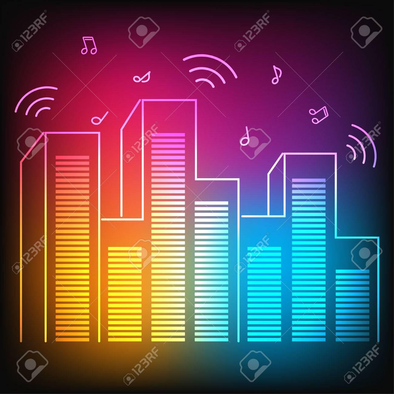 イコライザーの高層ビルと音楽のネオン街のイラスト素材ベクタ Image
