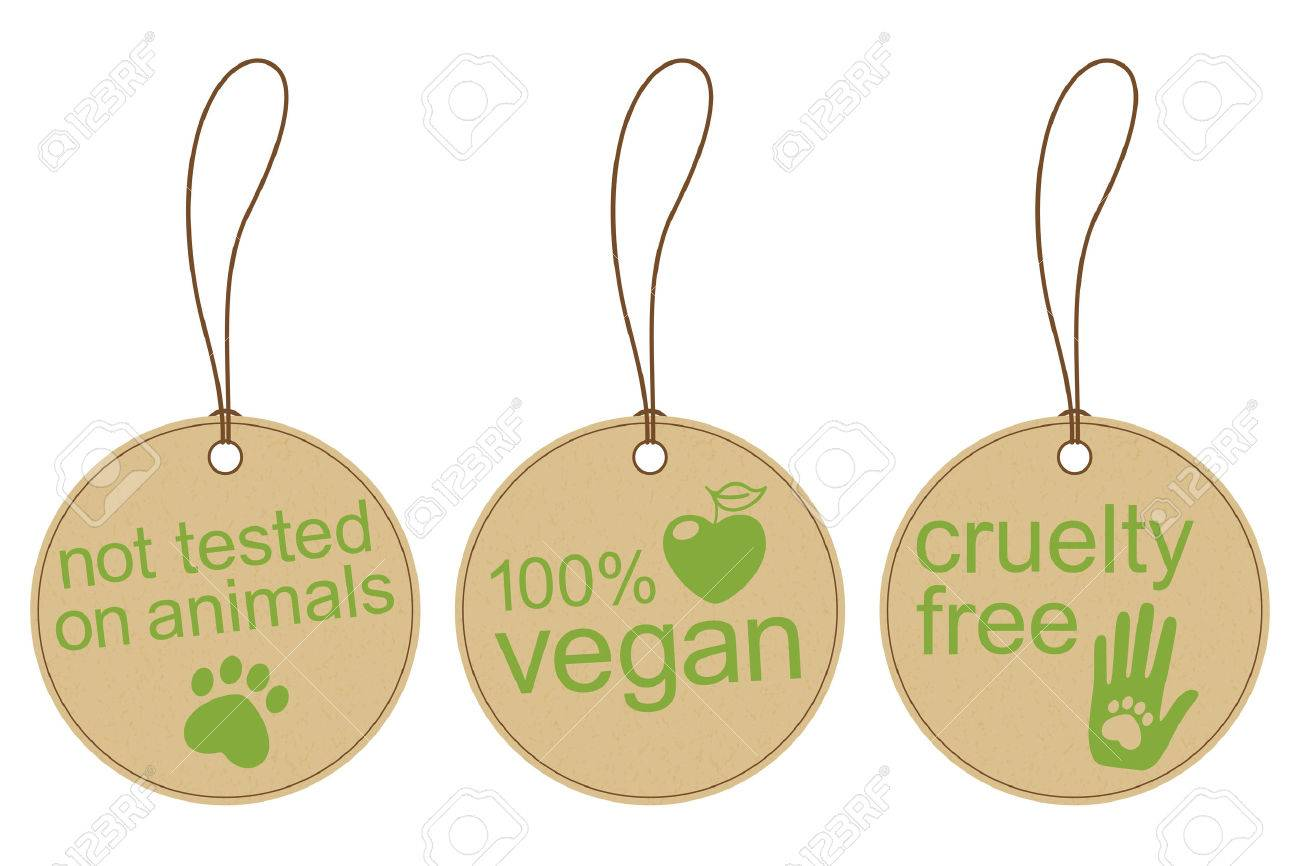 Set of carton tags for vegan, cruelty free and ethical products