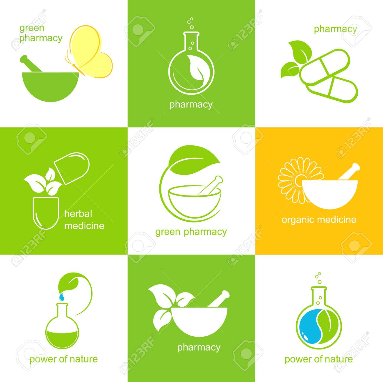 Set of icons and emblems for pharmacy and herbal medicine - 30550698