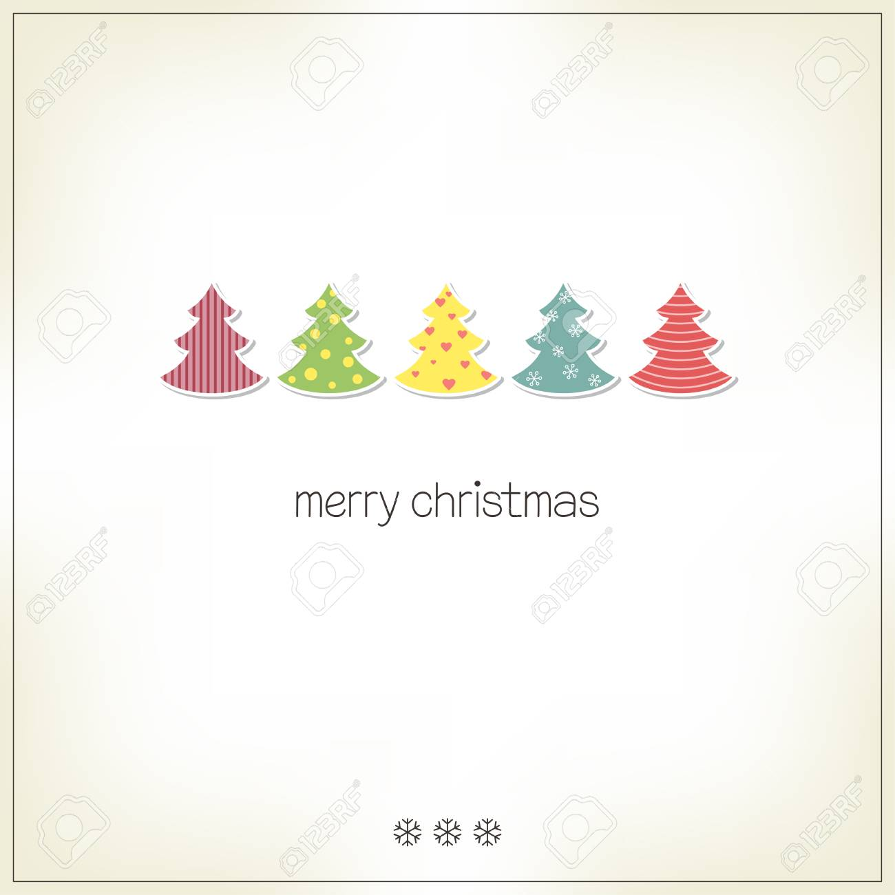 Christmas Tree Cutout.Greeting Card With Christmas Trees In Paper Cutout Style