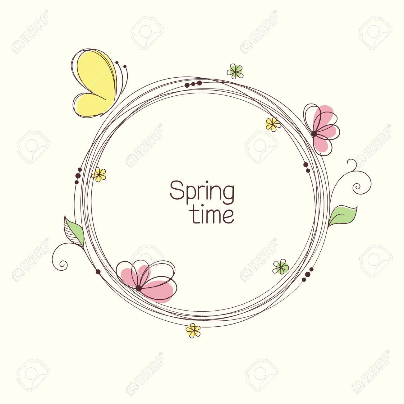 Stilisierte Kranz Mit Blumen Und Schmetterling. Round Floralen ...