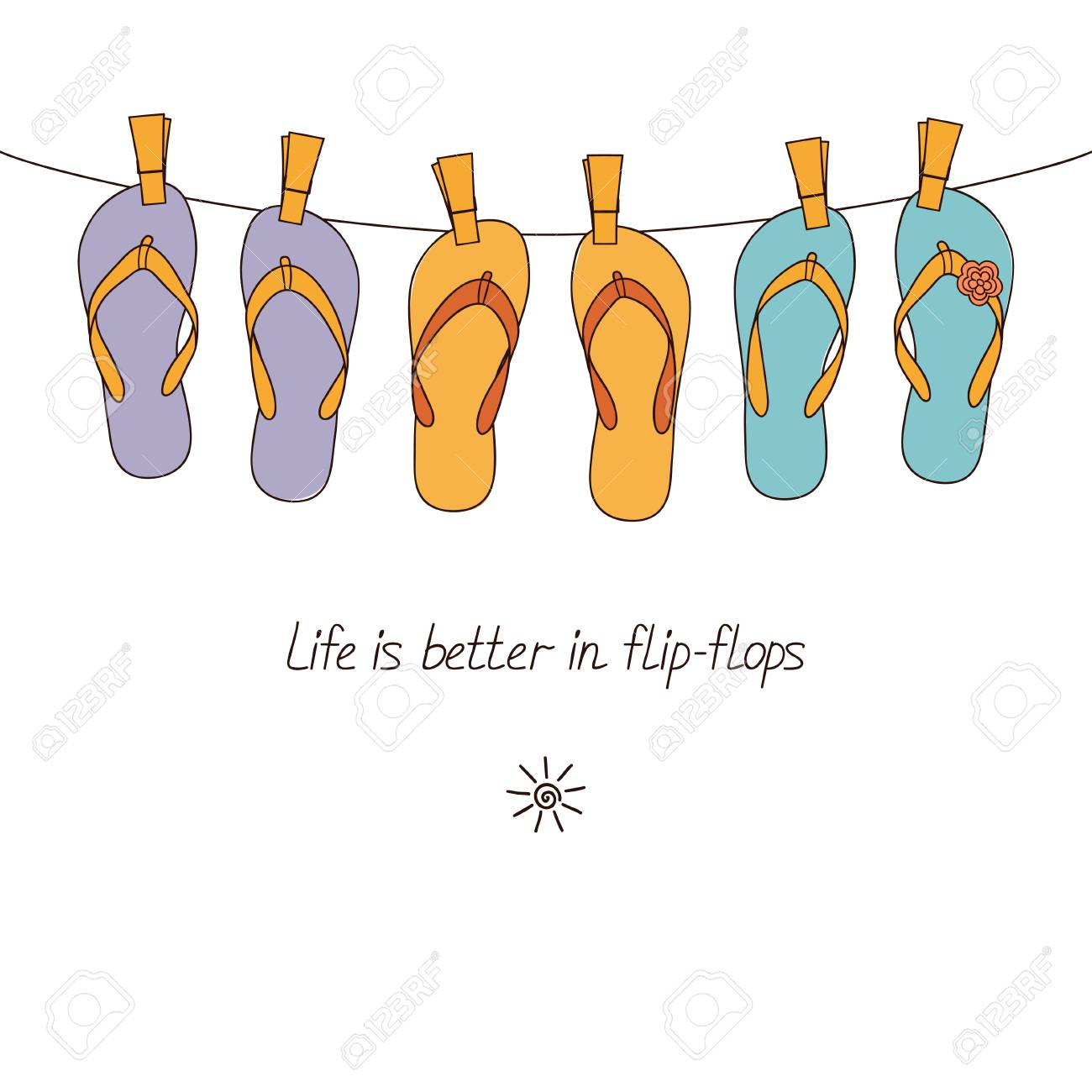 9a8cb4c77813ed Cute flip-flops hanging on clothesline for summertime design Stock Vector -  57232527