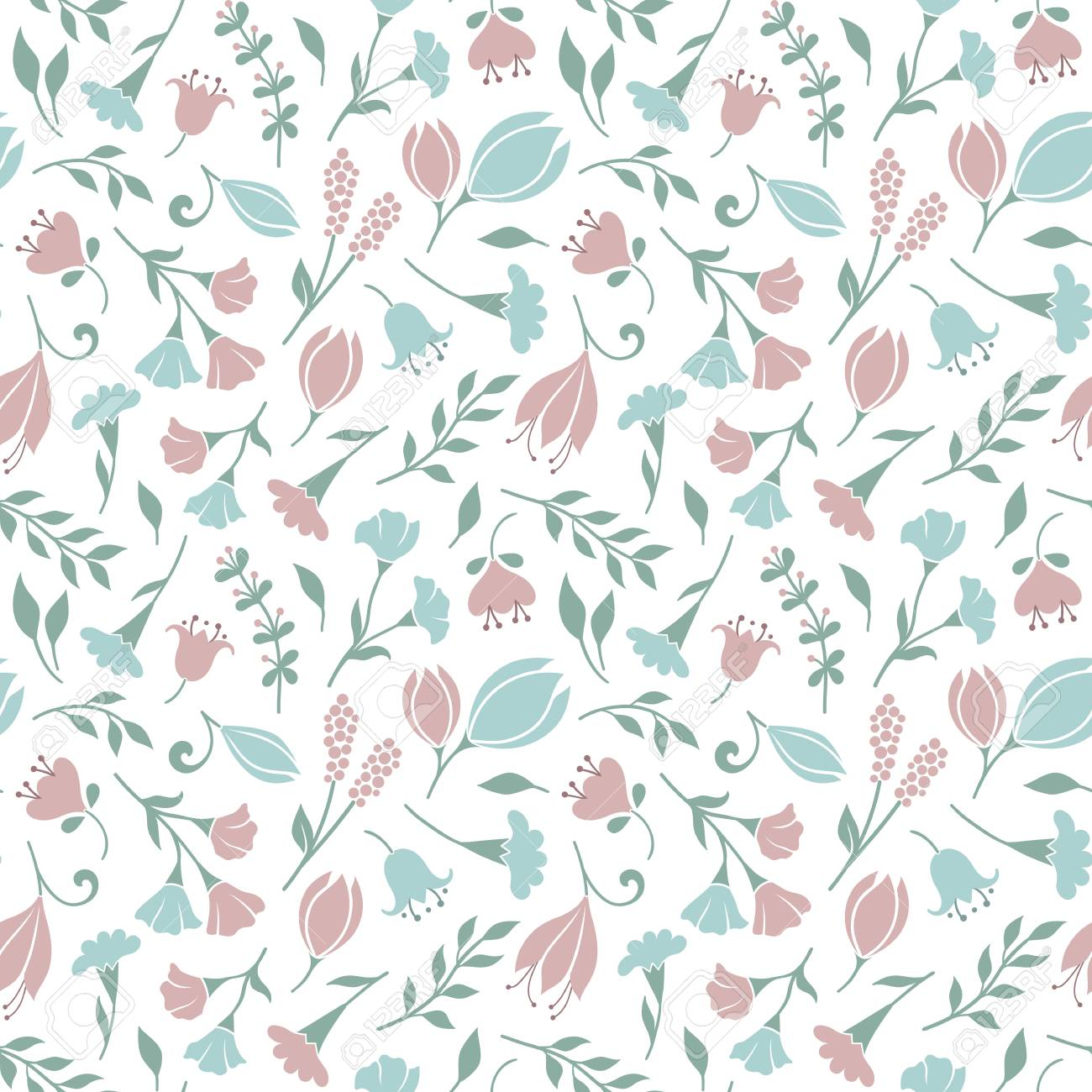Delicate Seamless Floral Pattern Background With Cute Flowers