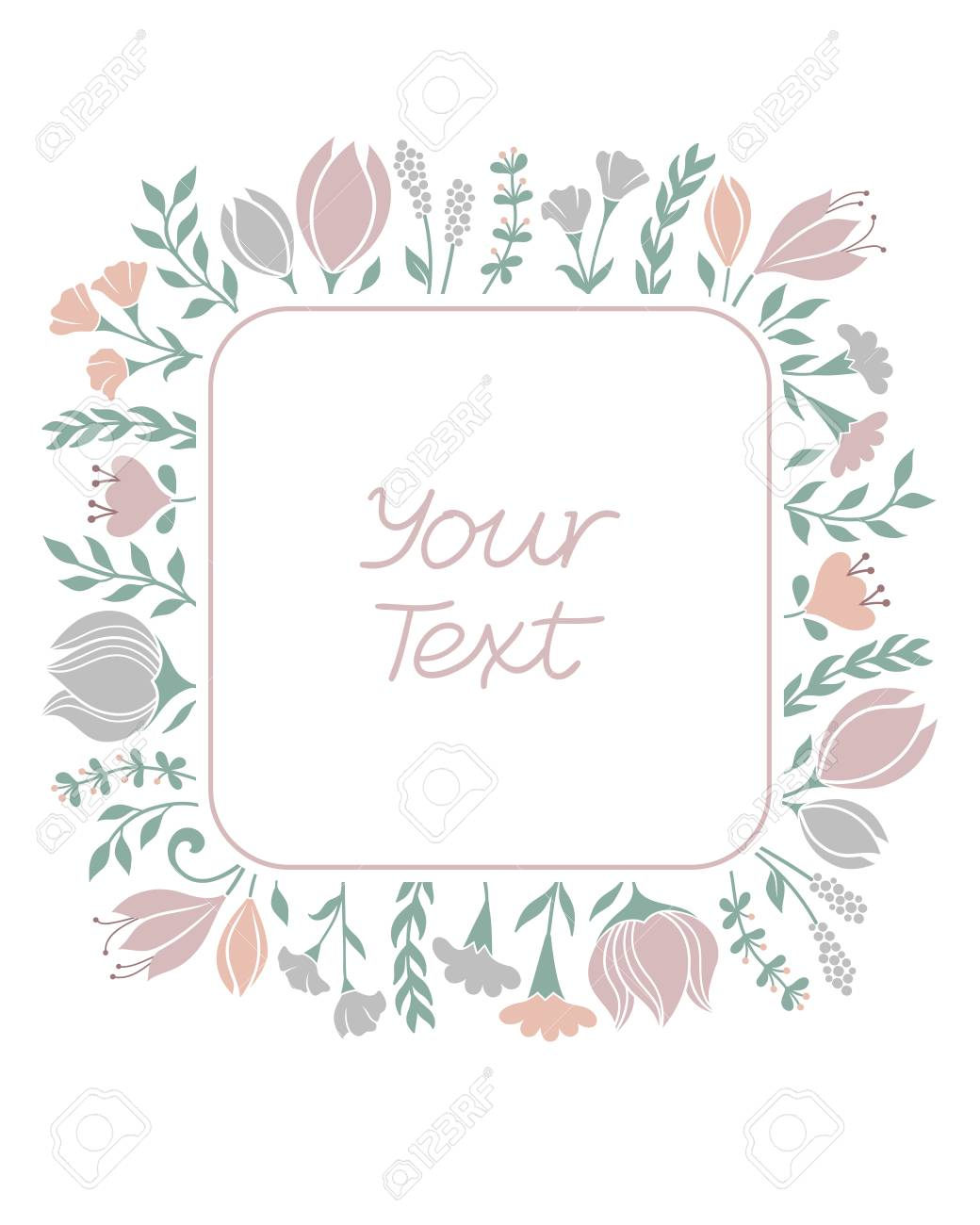 Floral Frame Background In Pastel Colors. Greeting Card, Wedding ...