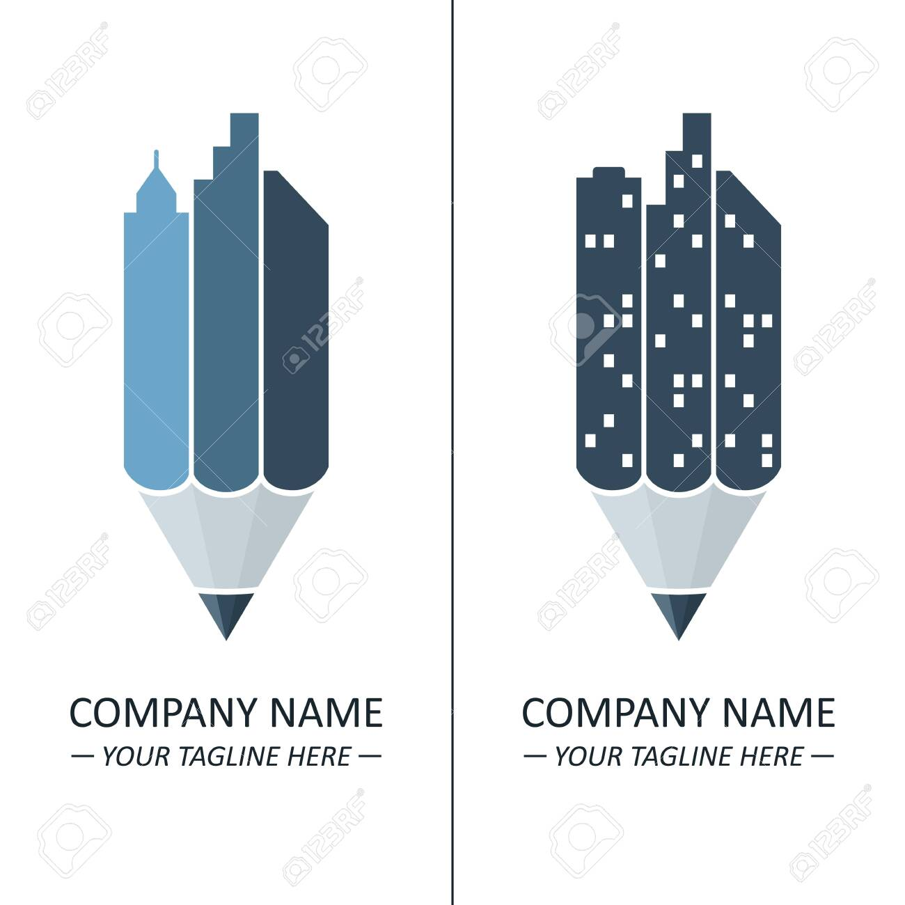Logo Concept With Pencil And Skyscrapers Idea For Architecture Royalty Free Cliparts Vectors And Stock Illustration Image 128471722