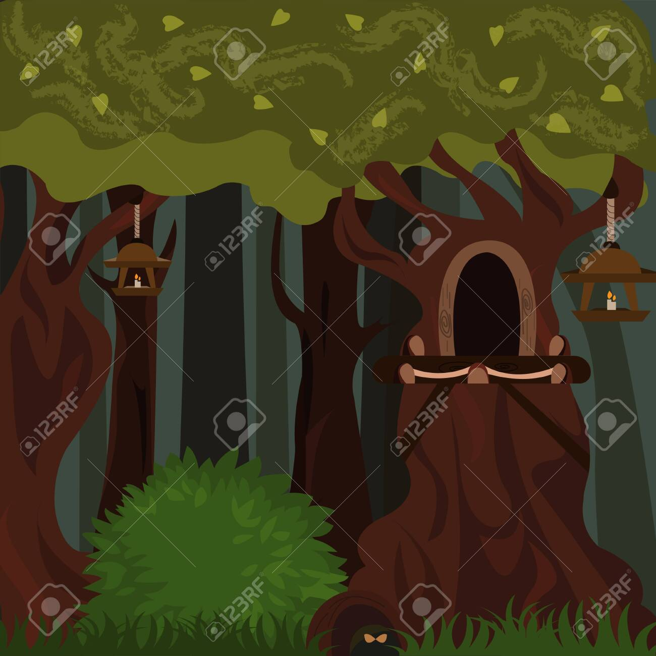Dark Forest Lanterns And Hollow In The Mole Trees In The Hole Royalty Free Cliparts Vectors And Stock Illustration Image 151447087 Cartoon movies jurassic bark online for free in hd. dark forest lanterns and hollow in the mole trees in the hole