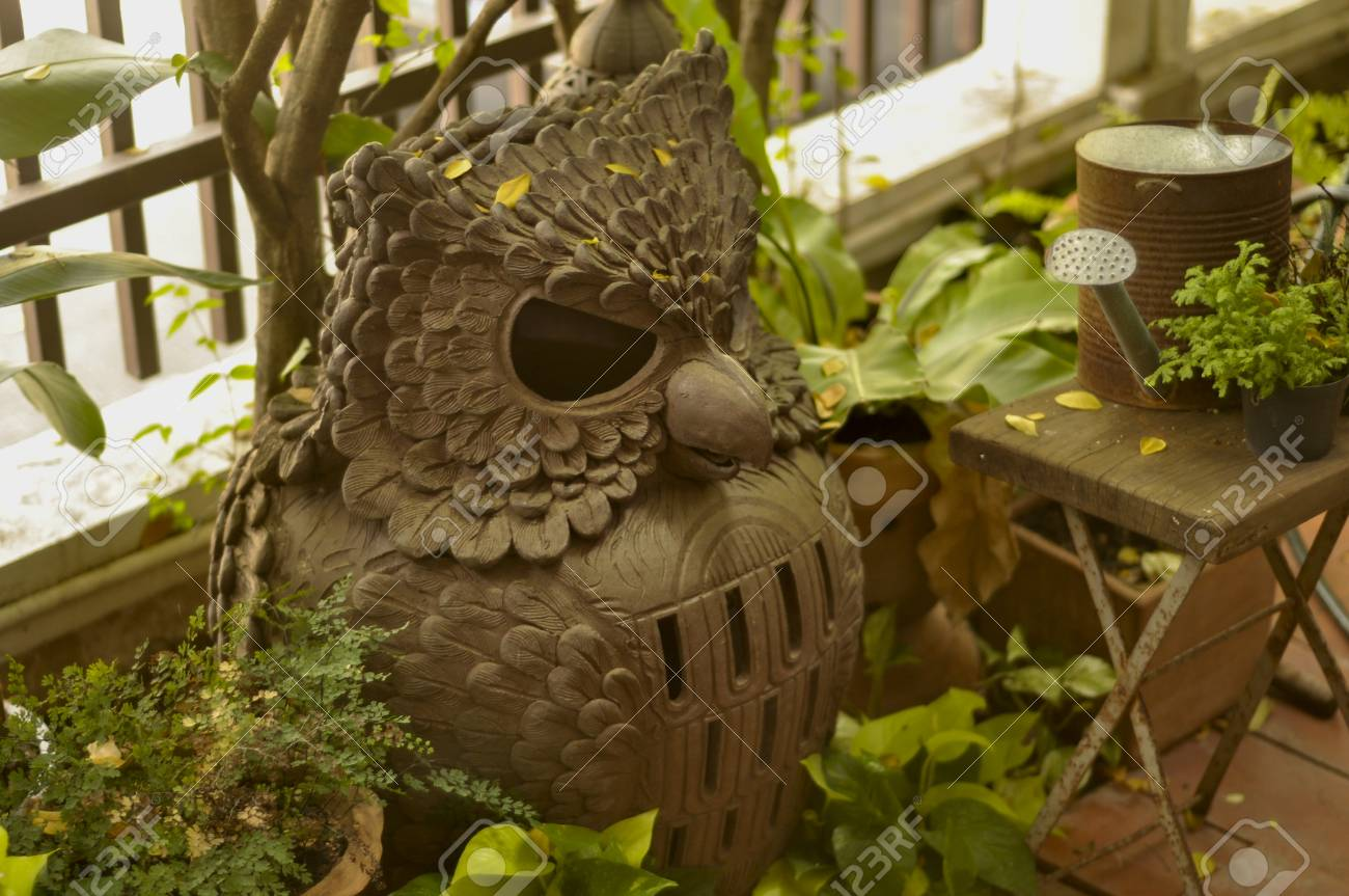 Owl Lamp Made Of Clay In The Garden Stock Photo, Picture And Royalty ...