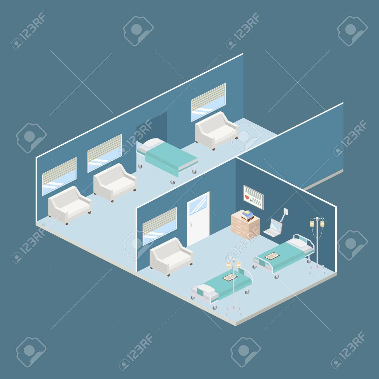 Isometric hospital design interior vector illustration 3D