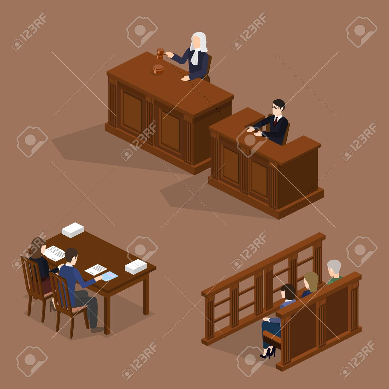Isometric 3D vector illustration concept the judge conducts the trial. The lawyer protects the defendant. Hall of jury endure verdict. Set of object - 90140873